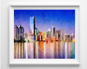 Miami Art Print,painting,Watercolor, Wall Art,Home Decor,Pic no 74