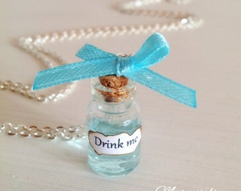 Drink Me Bottle Necklace - Alice in Wonderland Necklace, Drink Me Necklace, Potion Necklace