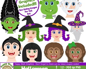 Halloween Faces clipart set, personal and commercial use vector, Halloween Heads digital clip art set.