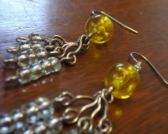 Mustard yellow cluster earrings