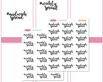 Midweek Spread Weekly Spread Word Planner Stickers Erin Condren Kikki K Filofax Happy Planner Travelers Notebook Midori SF0028