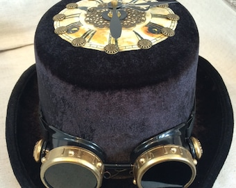 Black Vevlet Top Hat with Goggles & Onboard Clock!