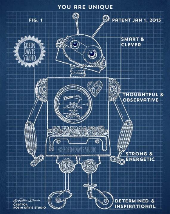 Robot blueprints 11x14 robot patent toy robot blueprints like this item malvernweather Gallery