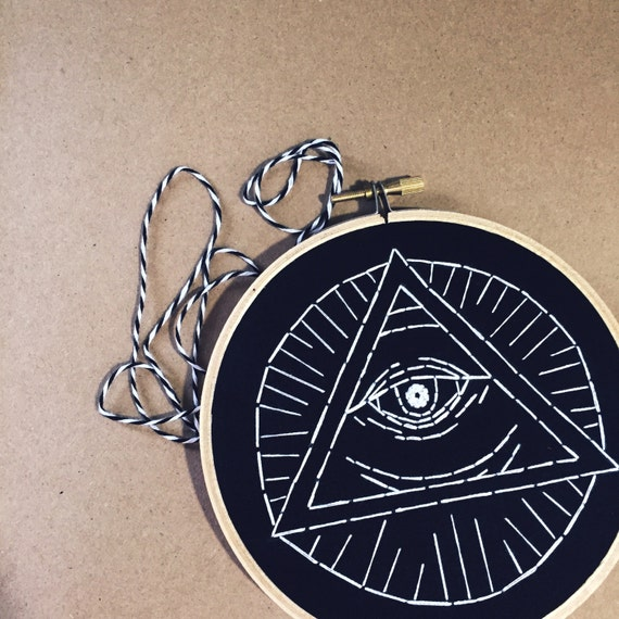 All Seeing Eye Pyramid Hand Embroidery Occult Illuminati