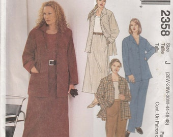 Skirt Pattern Pants Jacket Shirt  Plus Size 26W - 30W  Uncut McCalls 2358