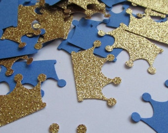 Prince Party Confetti,  Glitter Gold and Royal Blue Crown Confetti, Royal Baby Boy Shower Confetti, Tiara Die Cuts, Royal Party