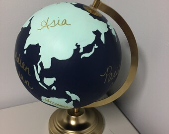 Custom Globe | Hand Painted Globe with Continents | Wedding Guestbook | Home Decor | Travel | Wanderlust | Navy and Mint