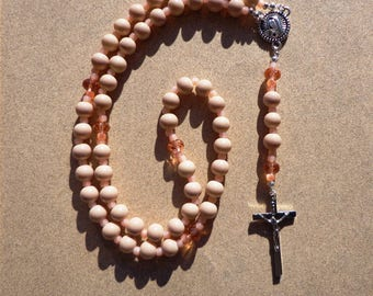Catholic Rosary, Bisque and Apricot Glass Beads with Talavera Style Connector, Silver Tone Crucifix, Five Decade Rosary, Christian Gifts