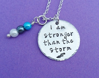stronger than the storm, be stronger than, than the storm, charm necklace, inspirational jewelry, encouragement gift, encouragement necklace