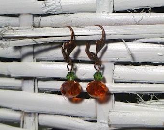 Copper Crystal Pumpkin Earrings