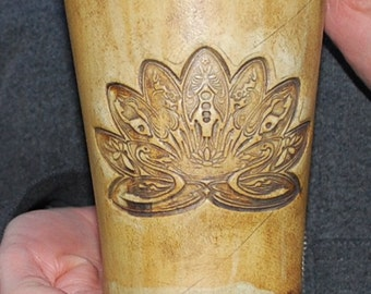 Lotus Handmade  Cup Ancient Earth Stain Stoneware Pottery for Celtic Weddings, Renaissance Faire, Home Bar