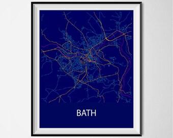 Bath Map Poster Print - Night