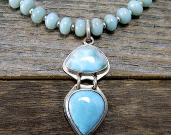 Larimar and Amazonite Silver Necklace, Larimar and Sterling Pendant, Upcycled Jewelry