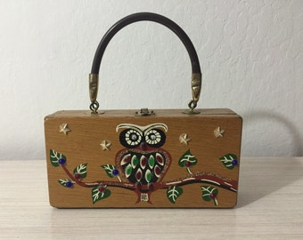 Beat Up Funky Designer Signed Gary Gailr Dallas Owl Box Purse ~ PLEASE See The Description And Pictures