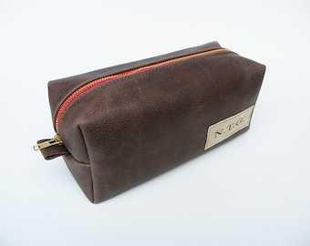 Leather Dopp Kit / Leather Pouch / Travel Organizer / Leather Toiletry bag / Heavy Duty Zipper/ Personalized Initial Patch-CUSTOM