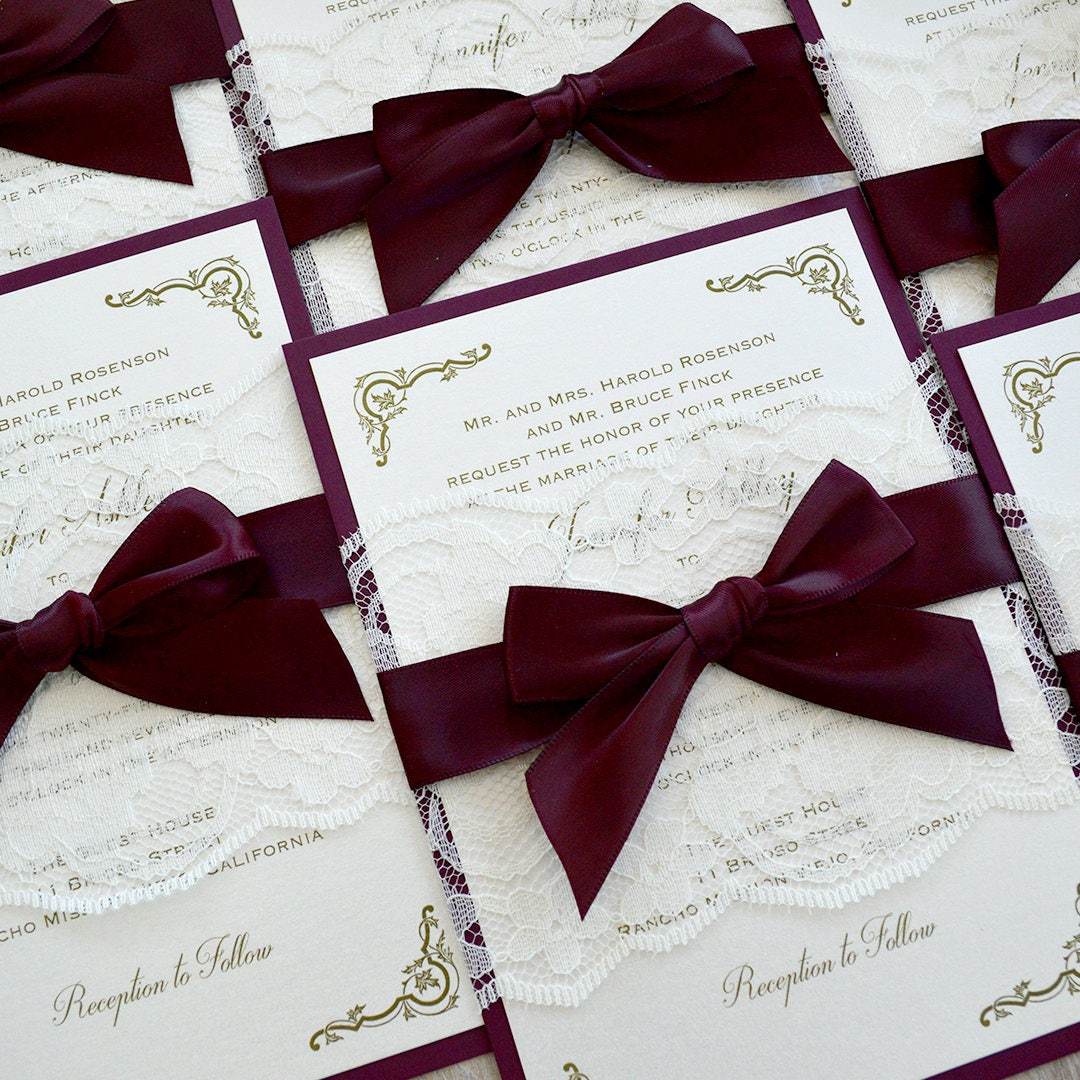 JENNIFER - Burgundy and Ivory Lace Wedding Invitation- Ivory Lace ...