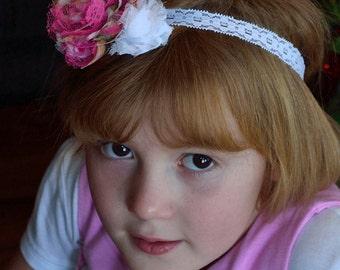Headband hot pink and white flower headband, lace headband girl headbands, baby headband, soft headband, pink girls headband, hair accessory