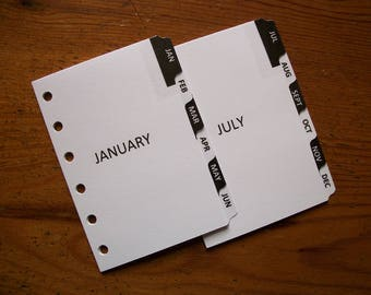 POCKET Size MONTHLY DIVIDERS Black & White #743 - Fits Filofax