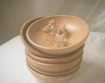 Set of Six Wooden Bowls | Wood Salad Bowl Set | Rustic Farmhouse Dinnerware | Small Wood Bowl Set | Vintage Kitchen Bowls
