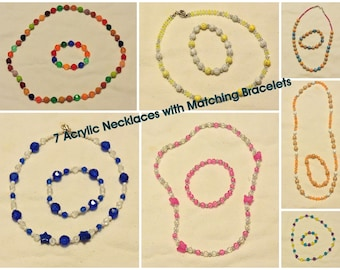 Girl's Jewelry .. Necklace w/ Matching Bracelet. Your Choice -  Choose 1 set, 2 sets, 3 sets, up to 7 sets  ... Acrylic Beads