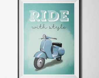 Wall poster Vespa, Ride with Style, A2 or A3+ print, illustration, vespa, scooter, roadtrip, motorcycle, vintage, retro, old, freedom
