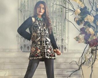 Women's Black Velvet Jacket, Embroidery Velvet Jacket, Aghanoor Black Velvet