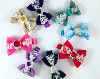Bow, Blue Bow, Pink Bow, Ribbon Bow Hair Clip, Mini Bow Hair Clip