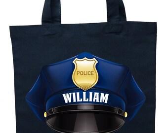 Policeman Trick or Treat Bag, Personalized Policeman Halloween Bag