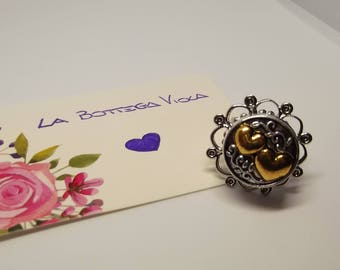 Adjustable Ring Filigree button snap Hearts united Golden Heart Ring