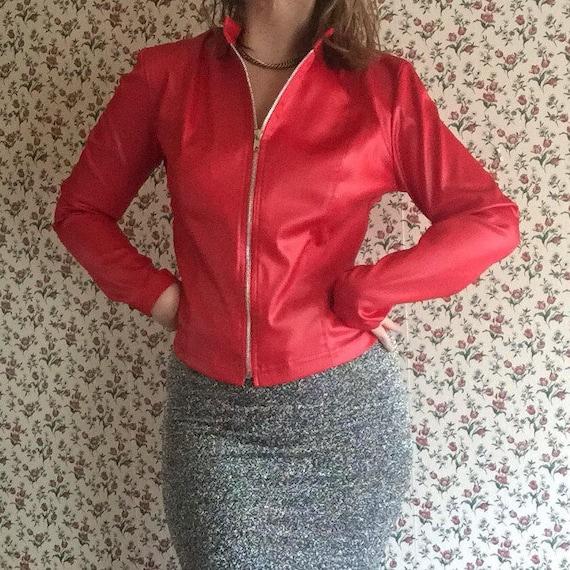 Fredericks Jacket | red 90s vintage fredericks of hollywood vintage stretch to form silver zipper mandarin collar mini small windbreaker m s