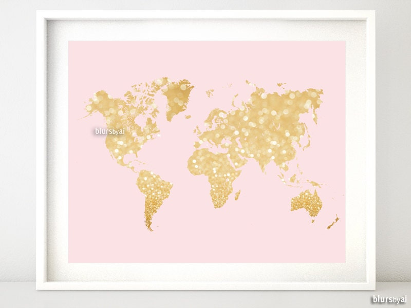 10x8 20x16 Printable world map blush and gold