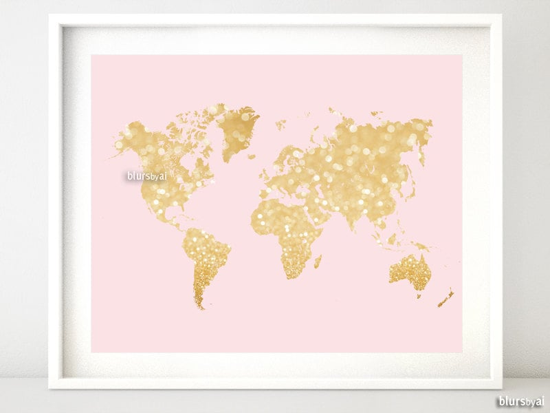 10x8 20x16 printable world map blush and gold zoom sciox Gallery
