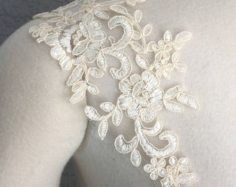 Set of Two Detachable Champagne  Lace Straps to Add to your Wedding dress Add-on Removable