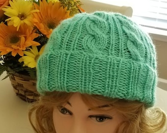 Mint Color Cable Hand-Knit Hat. Super soft - Ready to be Shipped