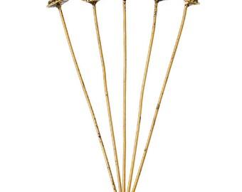 25 Antique Gold 3D Bali Style Head Pins 52mm (B8f)