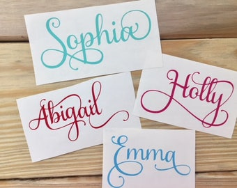 Samantha Font Decals | Fancy Script Decals | Indoor Vinyl | Name Decals |