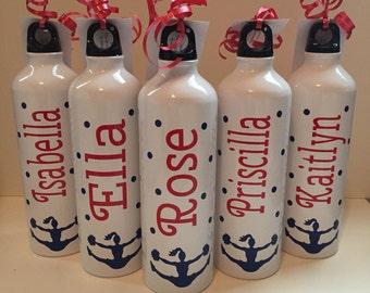 Personalized Aluminum Water Bottle - great for sports, cheerleading, soocer, baseball, softball, football, hockey