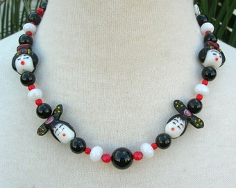 4 Fancy Oriental Ladies, White Jade & Black Onyx Beads, From the Faces Collection, Necklace Set by SandraDesigns