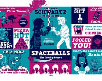 Spaceballs Silkscreen Poster by Ian Glaubinger inspired by Mel Brooks Use the Schwartz