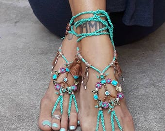 Eirene - The Goddess of Peace Barefoot Sandals By Iris Hearts Love Flower Power Boho Bohemian Hippie shoes jewelry anklet hippy gypsy style