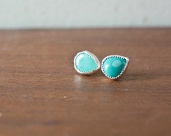 Azurite Earrings - Handmade Azurite Earrings - Azurite Jewelry -  Sterling Silver Earrings Sterling Silver Stone Bezel Stone
