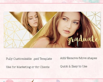 Geo Gold Facebook Cover/Timeline, Photoshop Template, INSTANT DOWNLOAD