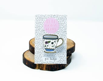 Illustrated teacup brooch pin badge