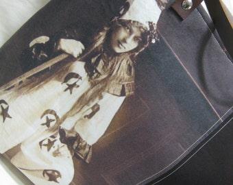 Vintage Halloween Photo Tote Bag - Clown Girl