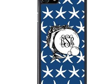 iPhone 5 5s 6 6s 6+ 6s+ SE 7 7+ iPod 5 6 Phone Case, Blue Starfish, Mermaid Monogram, Initials, Letters, Plus