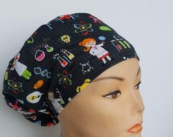 Euro Close Girl Science on Black Medical Surgical Scrub Hat Vet Nurse Chemo RN CRNA