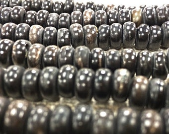 100pc Rondell Horn Beads, Black Horn Spacer Bead Strands, Tribal Ethnic Beads, Vintage Horn Beads -HS104B
