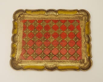 Florentine Gold Gilded and Red Serving tray, Vintage Italian Hand Painted Rectangular Drinks Tray 1950s