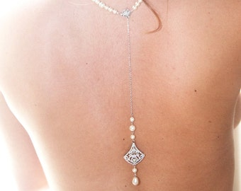 Collar and back jewelry - Bianca - back Bridal jewelry - Bridal necklace - wedding jewelry - back jewels back c - back necklace