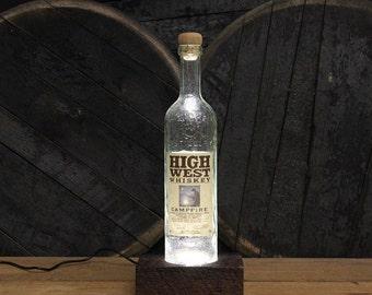 High West Bourbon LED Light / Reclaimed Wood Base Desk Lamp / Handmade Tabletop Lamp / Upcycled Bourbon Bottle Lighting / Custom